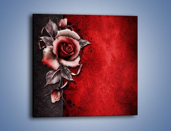Obraz na płótnie – Róża z odpowiednim podziałem – jednoczęściowy kwadratowy GR274