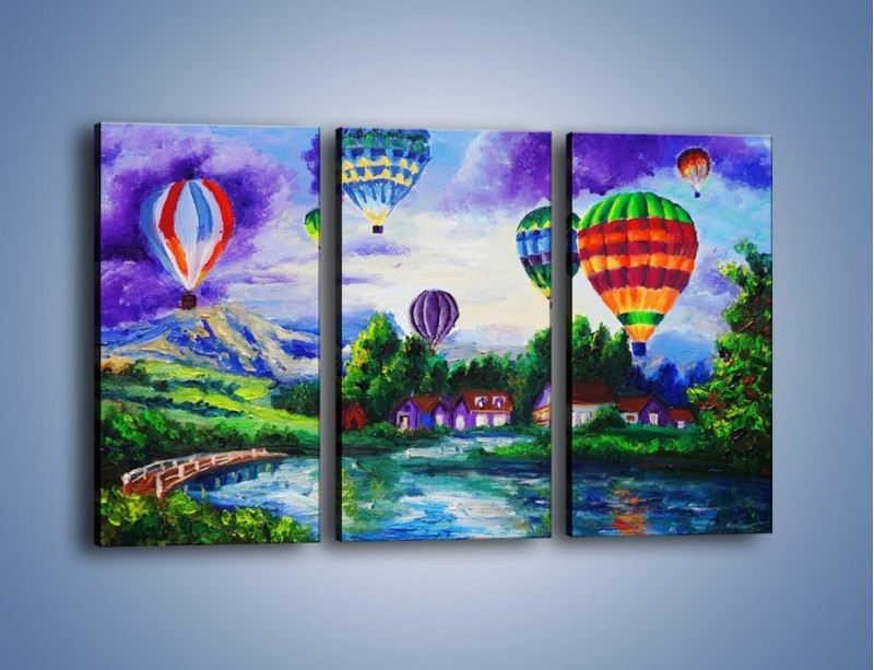 Obraz na płótnie – Lot kolorowym balonem – trzyczęściowy GR482W2