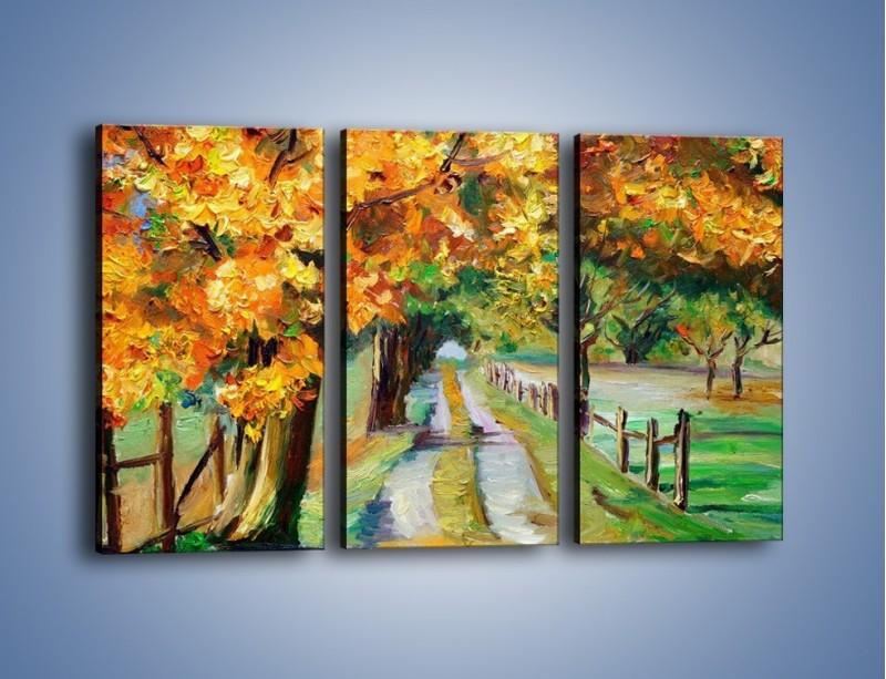Obraz na płótnie – Aleją wśród drzew – trzyczęściowy GR487W2