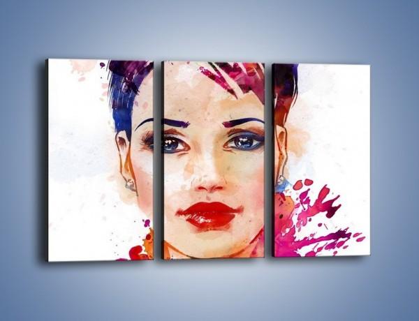 Obraz na płótnie – Piękna kobieta w kolorze – trzyczęściowy GR499W2