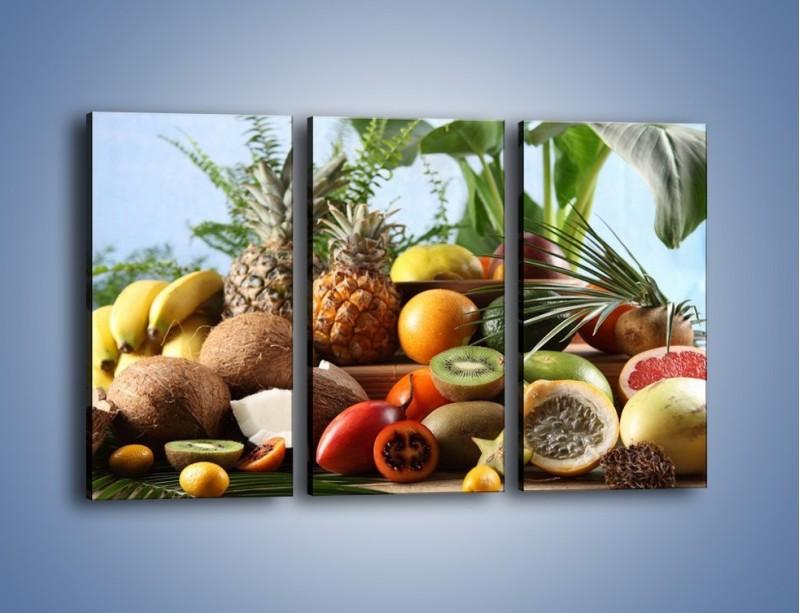 Obraz na płótnie – Mix owocowy na drewnianym stole – trzyczęściowy JN009W2