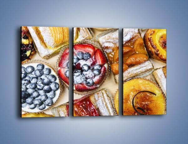 Obraz na płótnie – Kolorowe wypieki z dodatkiem owoców – trzyczęściowy JN032W2