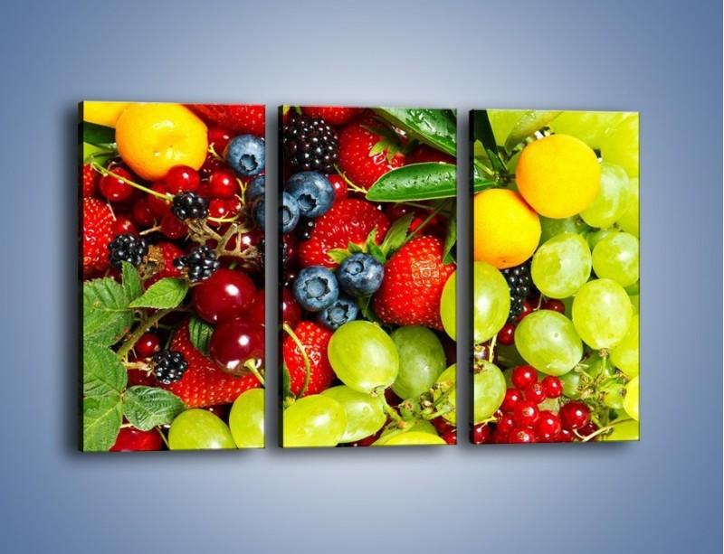 Obraz na płótnie – Wymieszane kolorowe owoce – trzyczęściowy JN037W2
