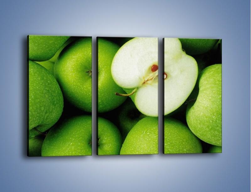 Obraz na płótnie – Zielone jabłuszka – trzyczęściowy JN039W2