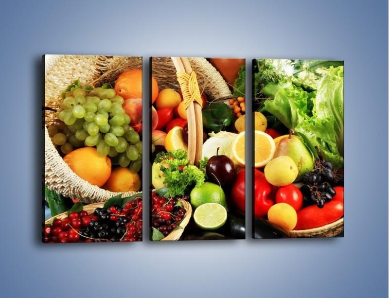 Obraz na płótnie – Kosz pełen owocowo-warzywnego zdrowia – trzyczęściowy JN059W2