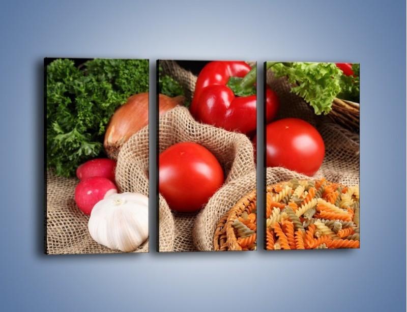 Obraz na płótnie – Makaron z warzywami – trzyczęściowy JN076W2