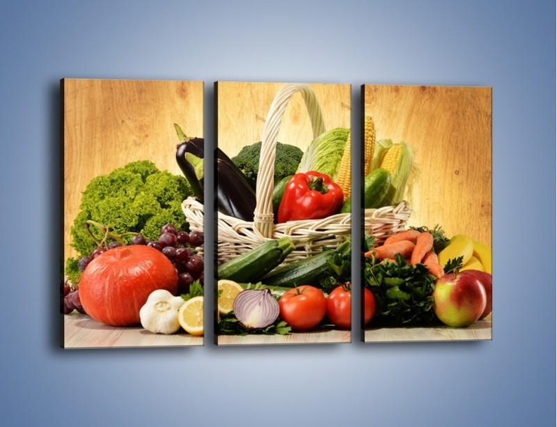 Obraz na płótnie – Kosz pełen warzywnych witamin – trzyczęściowy JN081W2