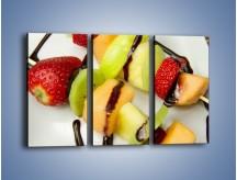 Obraz na płótnie – Czekoladowo-owocowe szaszłyki – trzyczęściowy JN112W2