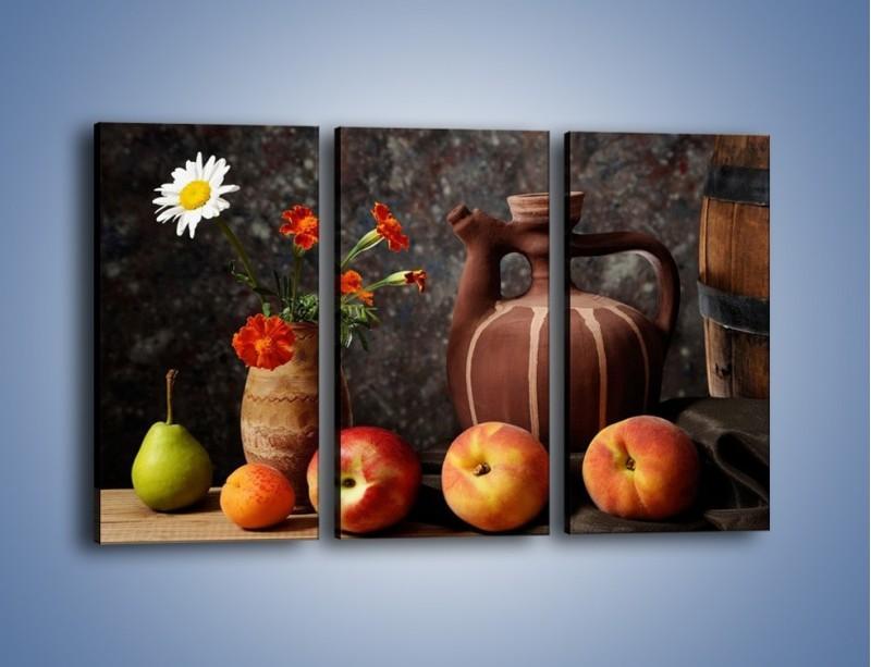 Obraz na płótnie – Kwiaty wśród owoców – trzyczęściowy JN280W2