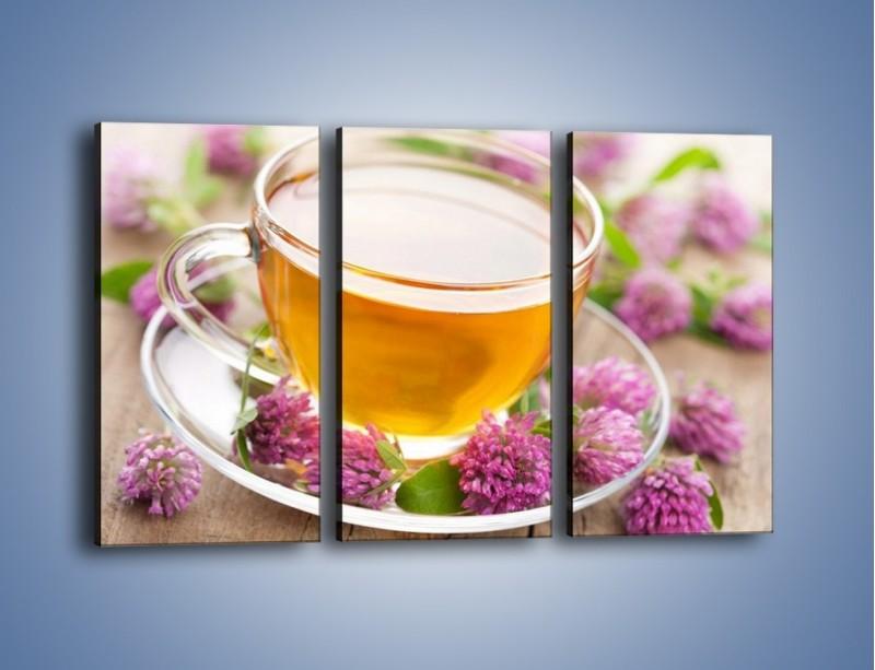 Obraz na płótnie – Herbata z kwiatami – trzyczęściowy JN283W2