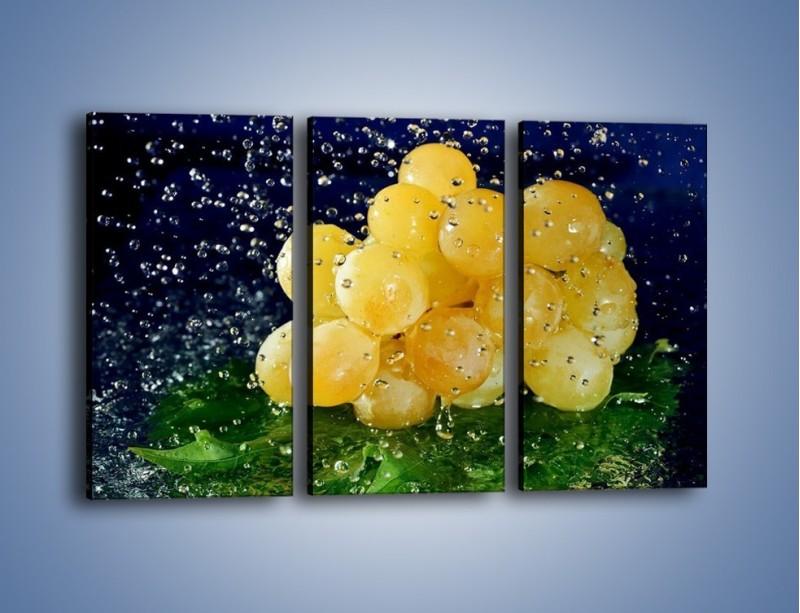 Obraz na płótnie – Słodkie winogrona z miętą – trzyczęściowy JN286W2