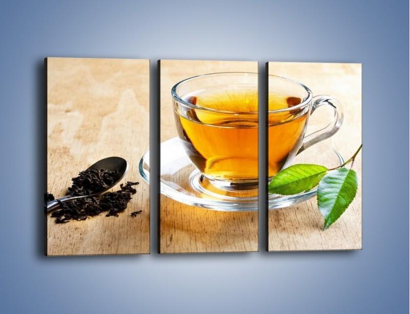 Obraz na płótnie – Listek mięty dla orzeźwienia herbaty – trzyczęściowy JN290W2