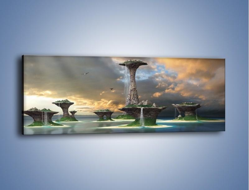 Obraz na płótnie – Kamienne fontanny pełne magii – jednoczęściowy panoramiczny GR130