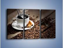 Obraz na płótnie – Czarna palona kawa – trzyczęściowy JN311W2