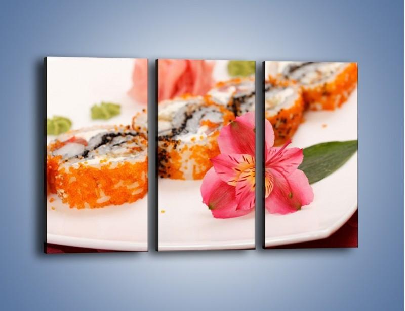 Obraz na płótnie – Sushi z kwiatem – trzyczęściowy JN354W2