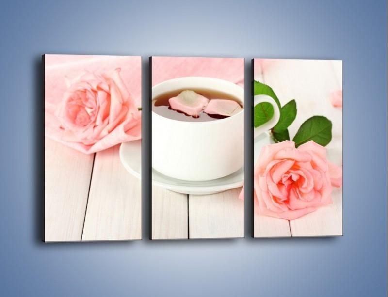 Obraz na płótnie – Herbata wśród róż – trzyczęściowy JN369W2