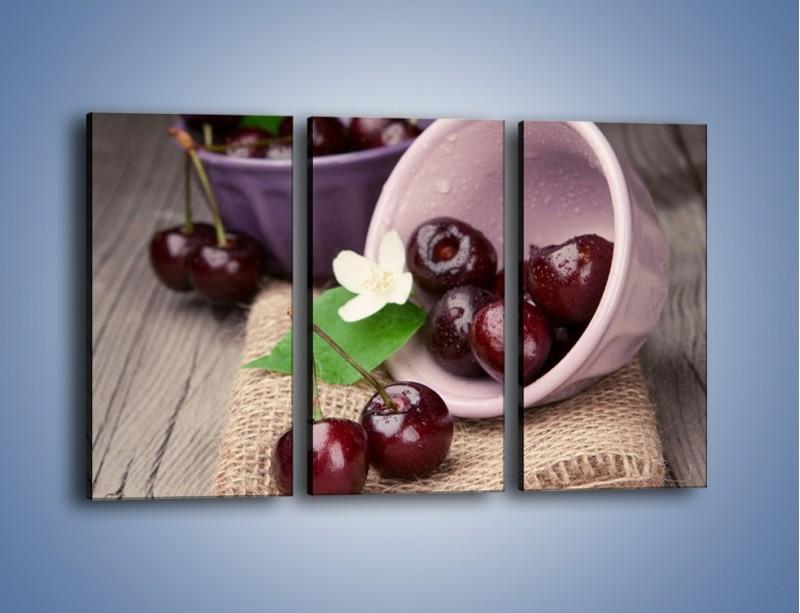 Obraz na płótnie – Wiśnie w małych pucharkach – trzyczęściowy JN399W2