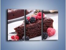 Obraz na płótnie – Czekoladowe brownie z owocami – trzyczęściowy JN408W2