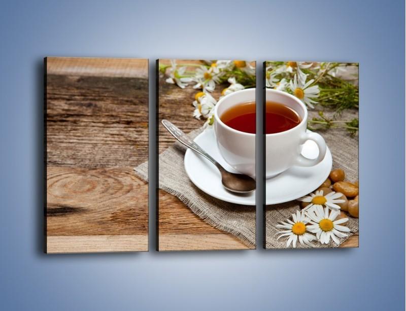Obraz na płótnie – Herbata wśród stokrotek – trzyczęściowy JN413W2