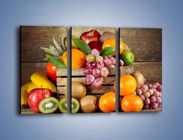 Obraz na płótnie – Skrzynia wypełniona owocami – trzyczęściowy JN424W2