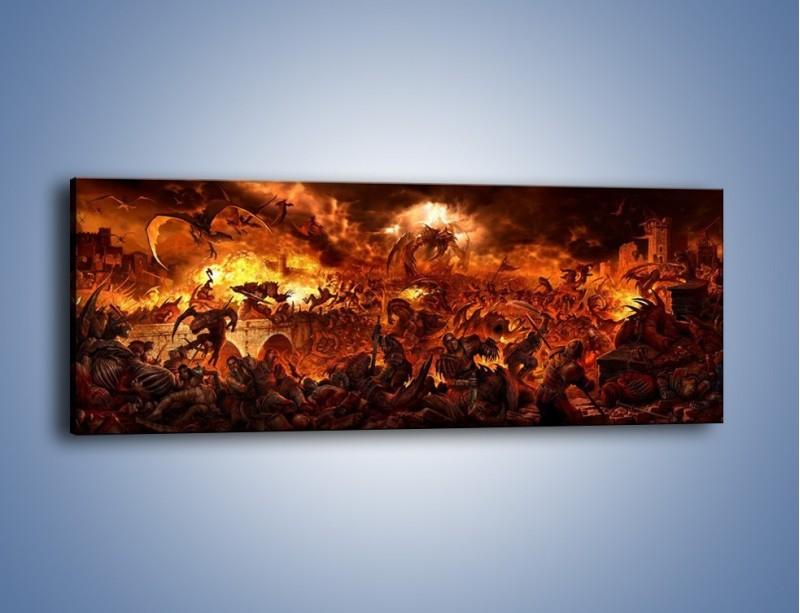 Obraz na płótnie – Bitwa z demonami – jednoczęściowy panoramiczny GR137