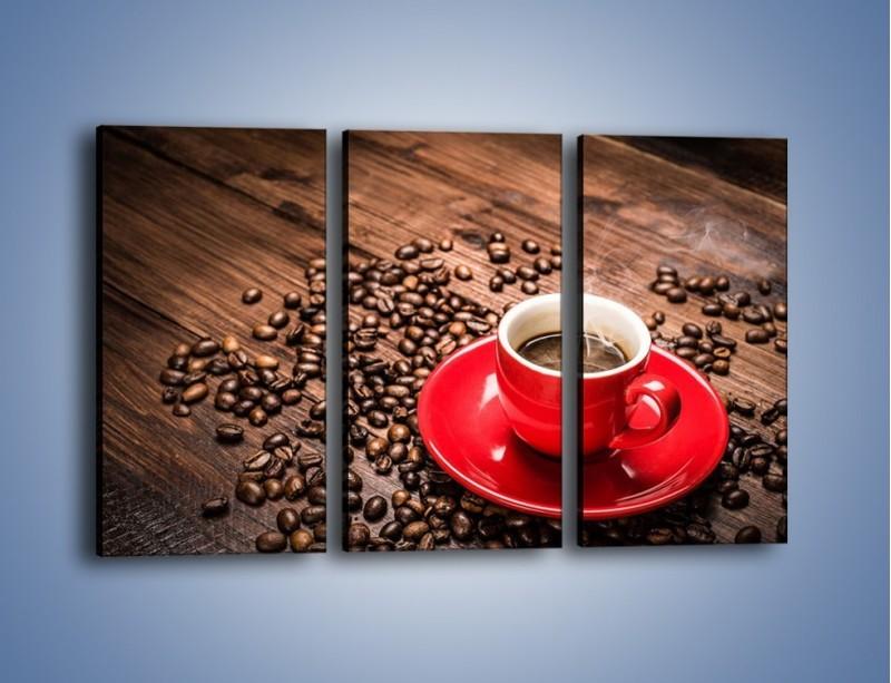 Obraz na płótnie – Kawa w czerwonej filiżance – trzyczęściowy JN441W2