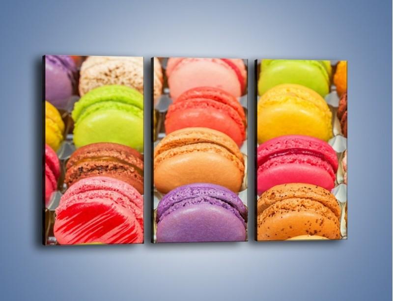 Obraz na płótnie – Słodkie babeczki w kolorach tęczy – trzyczęściowy JN458W2