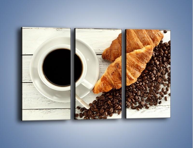 Obraz na płótnie – Kawa na białym stole – trzyczęściowy JN462W2