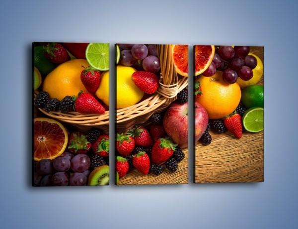 Obraz na płótnie – Kosz zatopiony w owocach – trzyczęściowy JN635W2