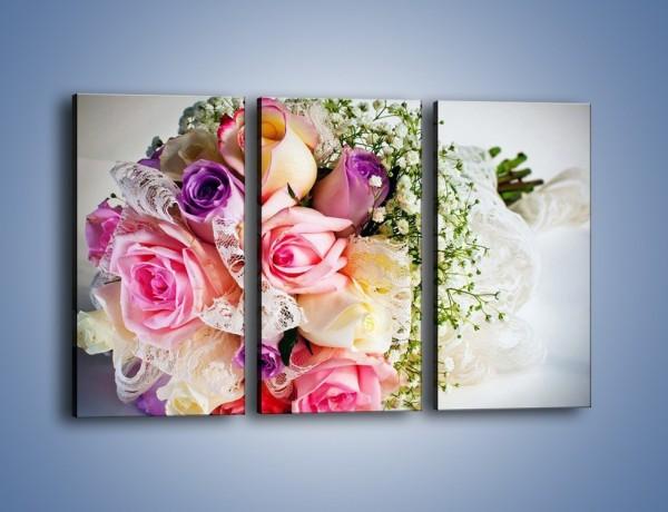 Obraz na płótnie – Wiązanka ślubna z róż – trzyczęściowy K022W2