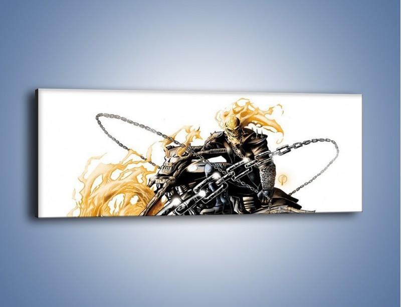 Obraz na płótnie – Mroczna postać na motorze – jednoczęściowy panoramiczny GR167