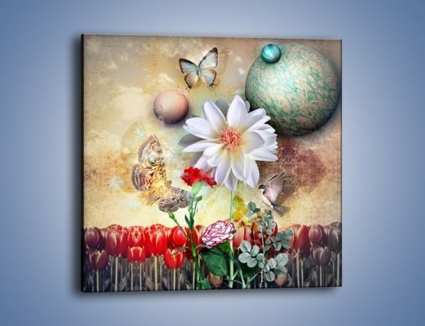Obraz na płótnie – Motyl wśród kwiatów – jednoczęściowy kwadratowy GR319