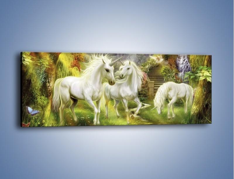 Obraz na płótnie – Jednorożce w krainie czarów – jednoczęściowy panoramiczny GR173