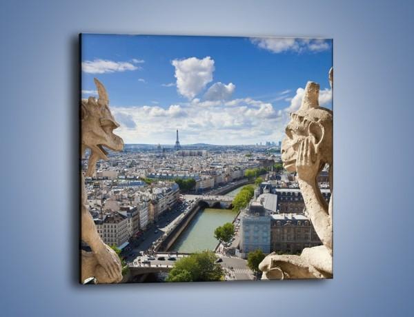 Obraz na płótnie – Kamienne gargulce nad Paryżem – jednoczęściowy kwadratowy AM037
