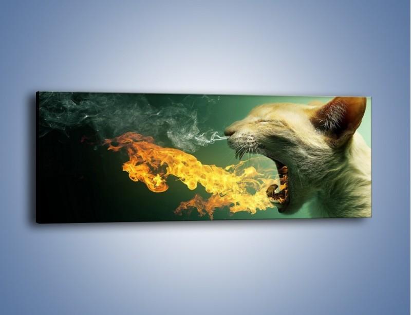 Obraz na płótnie – Kot z gorącym oddechem – jednoczęściowy panoramiczny GR180