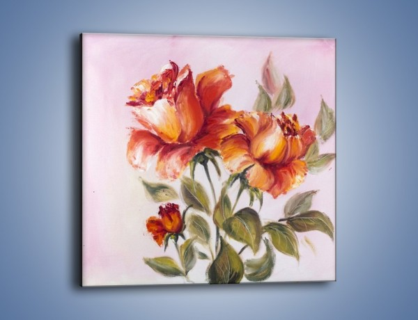 Obraz na płótnie – Kwiaty na płótnie malowane – jednoczęściowy kwadratowy GR322
