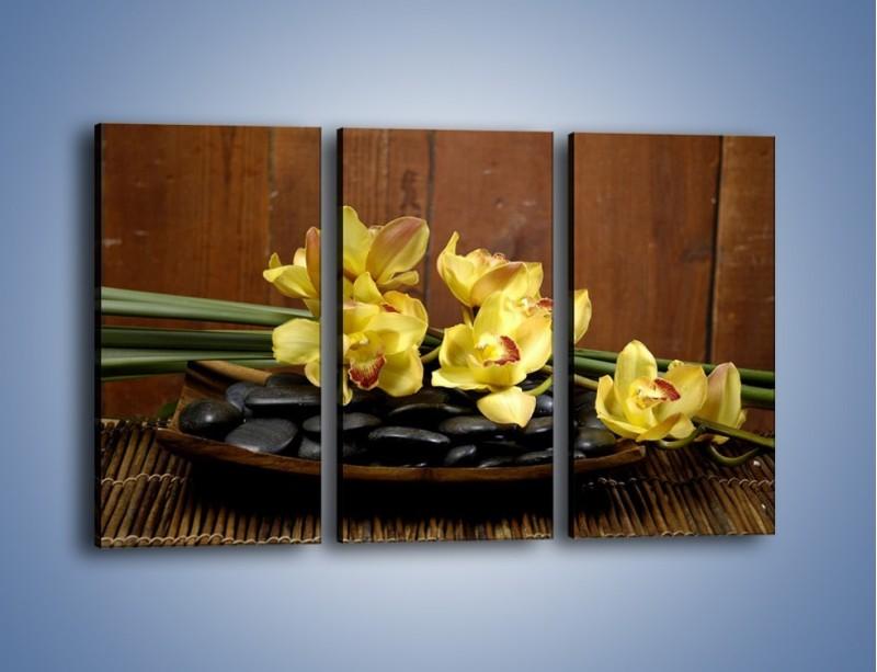 Obraz na płótnie – Kwiaty na drewnianym naczyniu – trzyczęściowy K575W2