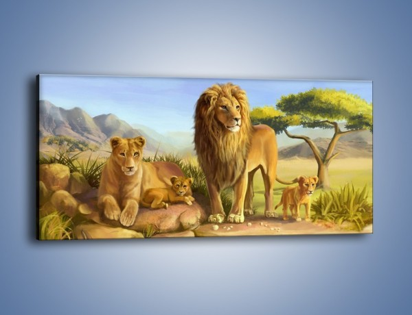 Obraz na płótnie – Lwia rodzina w komplecie – jednoczęściowy panoramiczny GR230