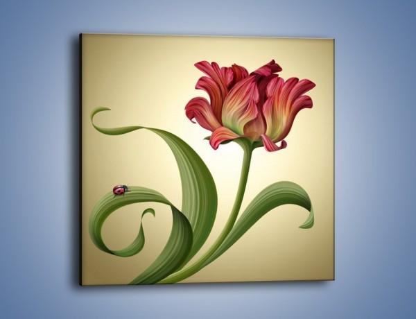 Obraz na płótnie – Malutka biedroneczka i kwiat – jednoczęściowy kwadratowy GR345