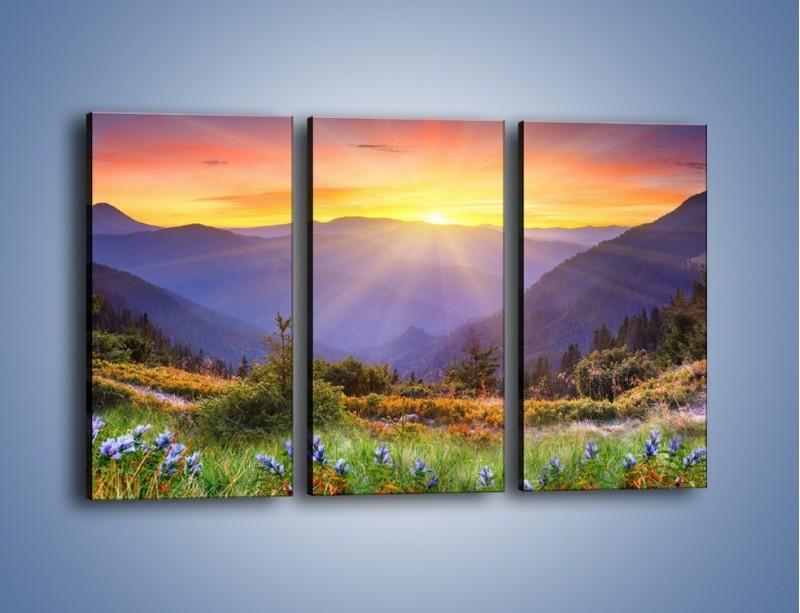 Obraz na płótnie – Góry o zachodzie słońca – trzyczęściowy KN014W2