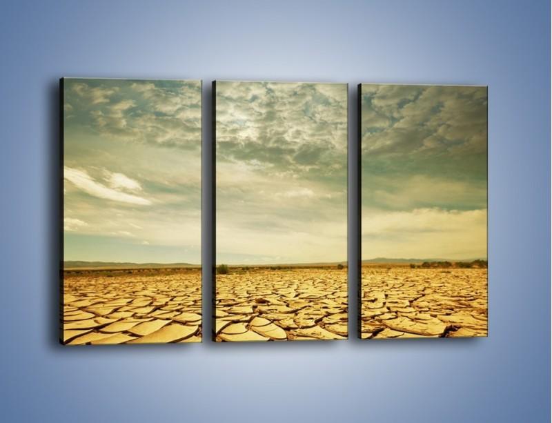 Obraz na płótnie – Ciemne chmury nad popękaną ziemią – trzyczęściowy KN025W2