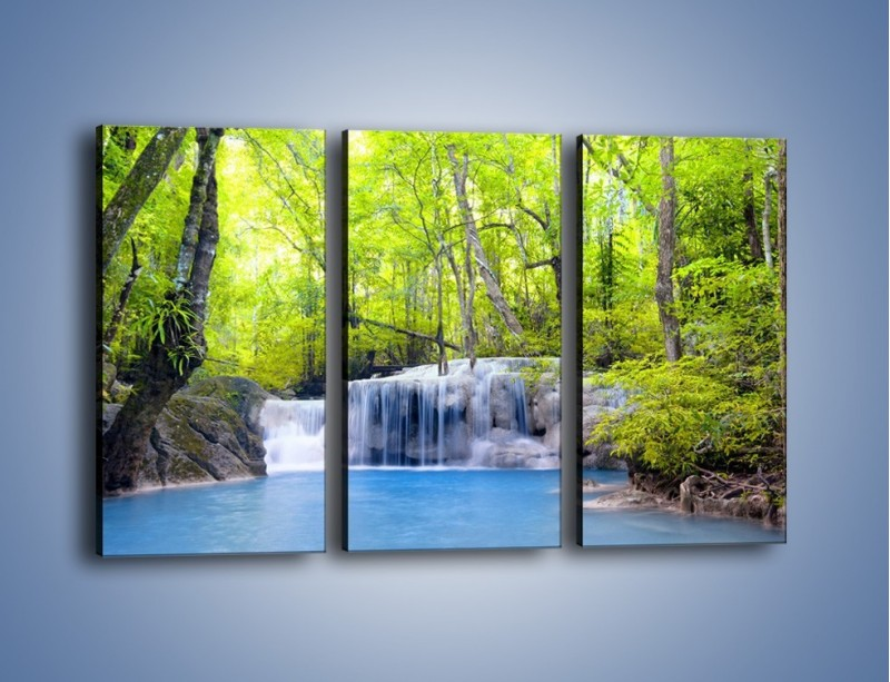 Obraz na płótnie – Mały leśny wodospad – trzyczęściowy KN057W2