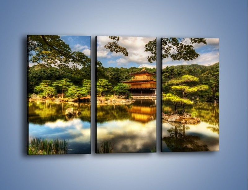 Obraz na płótnie – Widok z domu na wodę – trzyczęściowy KN1030W2