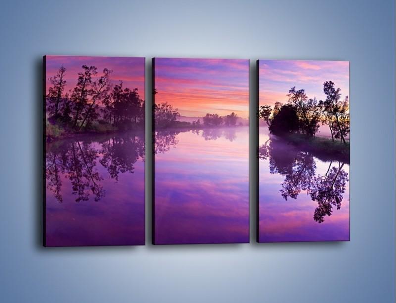 Obraz na płótnie – Fiolet w wodzie i na niebie – trzyczęściowy KN1046W2