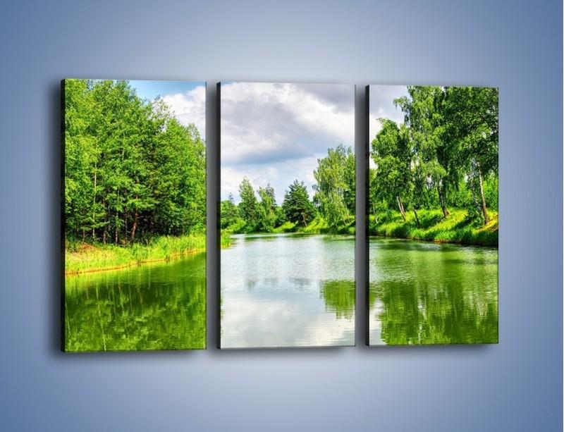 Obraz na płótnie – Spokojna woda i las – trzyczęściowy KN1086W2