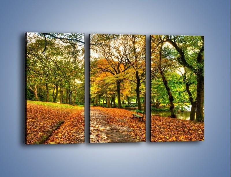 Obraz na płótnie – Piękna jesień w parku – trzyczęściowy KN1098AW2