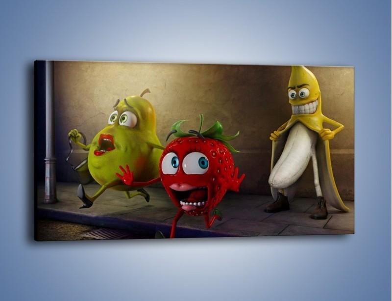 Obraz na płótnie – Strach w owocowych oczach – jednoczęściowy panoramiczny GR253