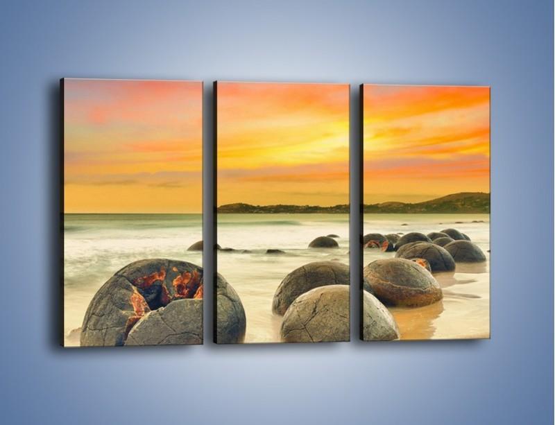 Obraz na płótnie – Popękane kamienne arbuzy – trzyczęściowy KN1125AW2