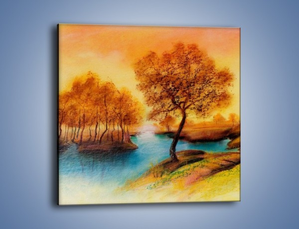 Obraz na płótnie – Drzewa nad samą wodą – jednoczęściowy kwadratowy GR352