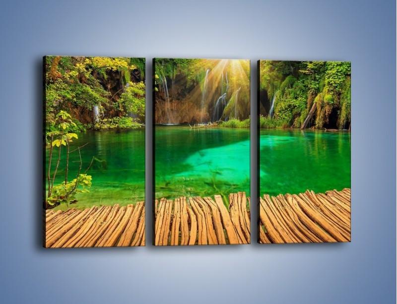 Obraz na płótnie – Zielone oczko wodne i drewno – trzyczęściowy KN1149AW2